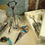 Murano Design 2 Pc Cork Screw Stopper Set Multi Color