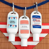 Patriotic Sunscreen Favors with Carabiner (SPF 30)