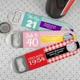 Adult Birthday Vinyl Grip Stainless Steel Paddle Bottle Openers