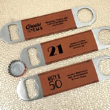 Adult Birthday Brown Faux Leather Paddle Bottle Openers