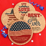 Patriotic Round Cork Coasters