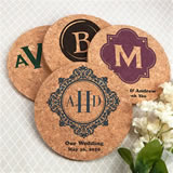 Monogram Round Cork Coasters