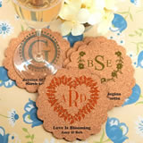 Monogram Scalloped Cork Coasters
