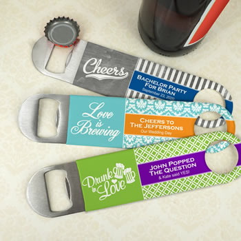 Personalized Vinyl Grip Stainless Steel Paddle Bottle Openers