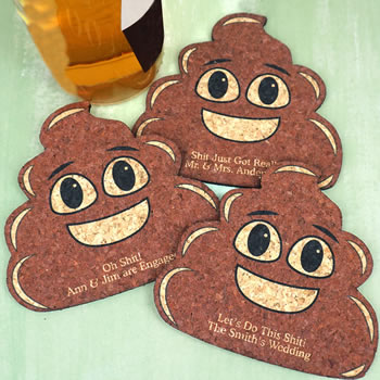 Poop Emoji Expressions Personalized Cork Coaster