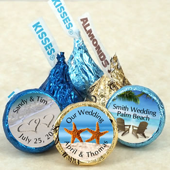 Beach Theme Hersheys Kiss Wedding Favors (9 designs available)