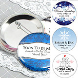 "Personalized Wedding Buttons (2.25"") - Winter Designs"