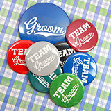 Team Groom Buttons (Set of 12, plus 1 Free) - 21 Color Options