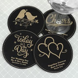 Personalized Round Faux Leather Coasters