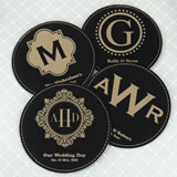 Monogram Round Faux Leather Coasters
