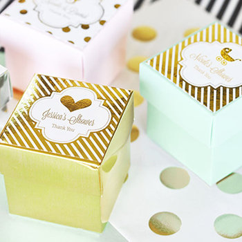 Personalized Metallic Foil Favor Baby Mini Cube Boxes (set of 12)