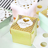 Personalized Metallic Foil Favor Wedding Mini Cube Boxes (set of 12)