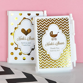 Personalized Metallic Foil Notebook Favors - Baby