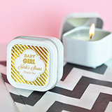Personalized Metallic Foil Square Candle Tins - Baby