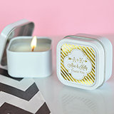 Personalized Metallic Foil Square Candle Tins - Wedding