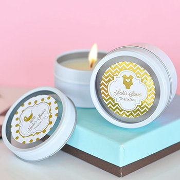 Personalized Metallic Foil Round Candle Tins - Baby
