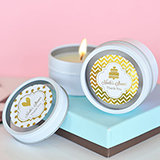 Personalized Metallic Foil Round Candle Tins - Wedding