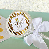 Personalized Metallic Foil Lollipop Favors - Wedding