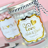 Personalized Mini Mason Jars - Metallic Foil Wedding Designs