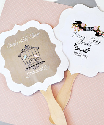 Personalized Paddle Fans - Vintage Baby