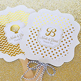 Personalized Metallic Foil Paddle Fans - Wedding
