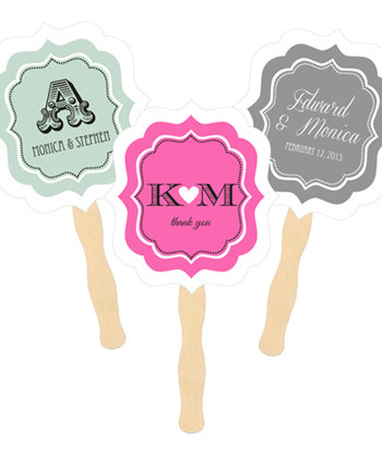 Personalized Paddle Fans - Wedding
