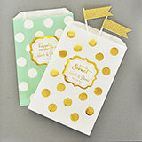 Personalized Metallic Foil Chevron & Dots Goodie Bags (set of 12) - Wedding
