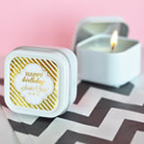 Personalized Metallic Foil Square Candle Tins - Birthday