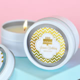 Personalized Metallic Foil Round Candle Tins - Birthday