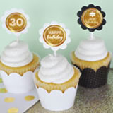 Personalized Metallic Foil Cupcake Wrappers & Cupcake Toppers (Set of 24) - Birthday