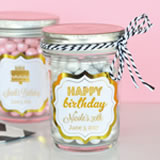Personalized Metallic Foil Mini Mason Jars - Birthday