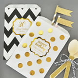 Personalized Metallic Foil Chevron & Dots Goodie Bags (set of 12) - Birthday