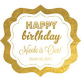 Personalized Metallic Foil Frame Labels - Birthday