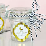 Personalized Metallic Foil Glass Jar with Swing Top Lid - Baby MINI