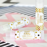 Personalized Metallic Foil Lip Balm Tubes - Birthday