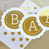Personalized Metallic Foil Scallop Banner - Baby