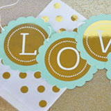 Personalized Metallic Foil Scallop Banner - Wedding