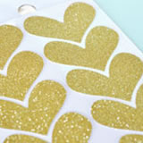 Gold Glitter Heart Stickers (Set of 24)