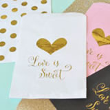 Love is Sweet Gold Foil Candy Buffet Bags (Set of 12)