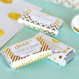 Personalized Metallic Foil Mini Candy Bar Wrappers - Wedding