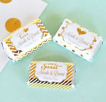 Personalized Metallic Foil Mini Candy Bar Wrappers - Birthday