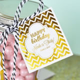 "Personalized Metallic Foil 2"" Square Favor Labels & Tags - Birthday"