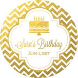 Personalized Metallic Foil Round Favor Labels - Birthday