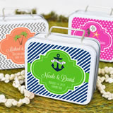 """Love to Travel"" Personalized Theme Suitcase Tins"