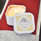 """A Winter Holiday"" Personalized Square Candle Tins"