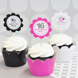 Sweet Sixteen (or 15) Cupcake Wrappers & Cupcake Toppers (Set of 24)