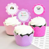Birthday Cupcake Wrappers & Cupcake Toppers (Set of 24)