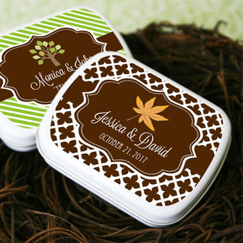 """Fall for Love"" Personalized Mint Tins"