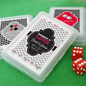 Las Vegas Themed Playing Card Favors With Personalized Box