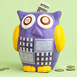 Large Multicolored ceramic owl banks/Centerpiece